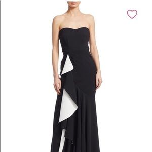 NWT cinq a sept black/ivory Roma Evening gown